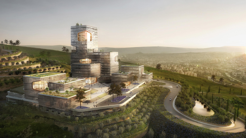 Foto: TBC Headquarters, Tbilisi, Georgië. Landschapsplan Loos van Vliet, architectuur UNStudio